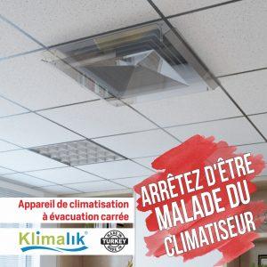 Appareil de climatisation à évacuation carrée